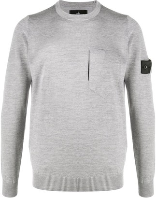 Stone Island Shadow Project Crew Neck Patch Pocket Jumper