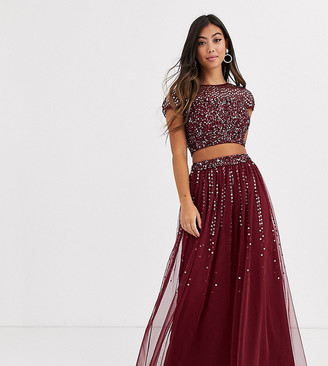 Maya Petite Bridesmaid delicate sequin tulle skirt co ord in wine