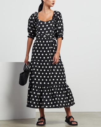 Faithfull The Brand Women's Black Midi Dresses - Rumi Midi Dress - Size S at The Iconic