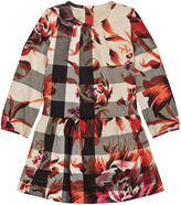 Burberry Pink Floral and Classic Check Print Dress with 3/4 length sleeve