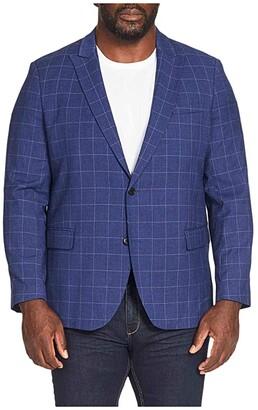 Johnny Bigg Big Tall Reggie Check Stretch Blazer (Blue) Men's Clothing