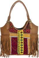 Vintage Addiction Tan Leather & Vintage Fabric Fringe Shoulder Bag
