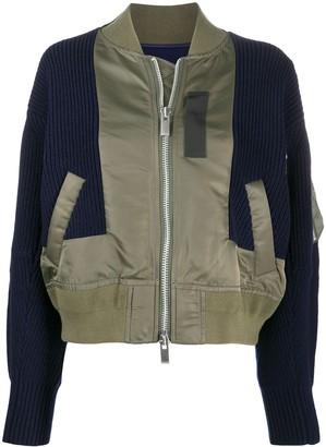 Sacai Panelled Zipped Bomber Jacket