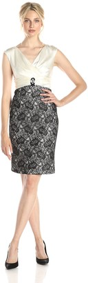 London Times Women's Petite Charmeuse Wrap with Lace Skirt