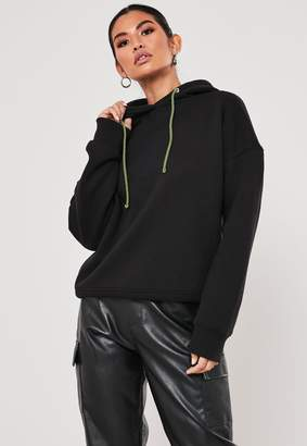 Missguided Black Oversized Hoodie With Contrast Toggles