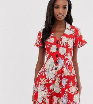 Asos Tall DESIGN Tall button front tea playsuit in floral print-Multi