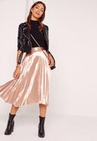 Missguided Full Pleated Midi Skirt Rose Gold