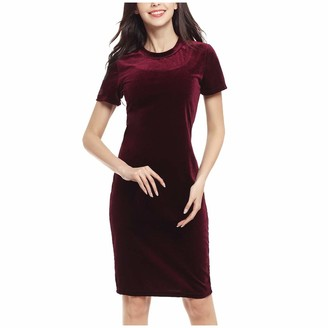 Shenye Women Business Pencil Dresses Knee Length Work Office Solid Color Sheath Dress Summer Short Sleeve T-Shirt Dress Wine