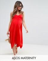 Asos Button Through Midi Sun Dress With Dipped Hem