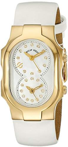 Philip Stein Teslar Women's 1GP-NGDMOP-IW Signature Stainless Steel Watch with White Leather Band