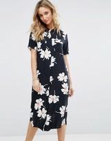 Vila Floral Print Midi Shirt Dress