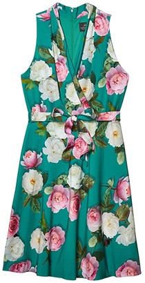 Adrianna Papell Peony Printed Bias Dress (Green Multi) Women's Dress