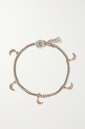 Brooke Gregson Crescent 14-karat Rose Gold, Sterling Silver, Silk And Diamond Bracelet