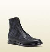 Gucci Black Leather And Tartan Lace-Up Boot