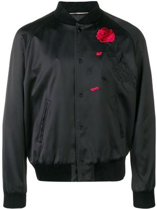 Saint Laurent Rose Embroidered Bomber Jacket