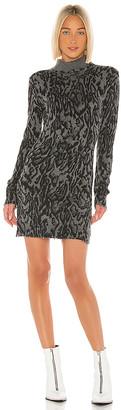 Pam & Gela Ocelot Mock Neck Long Sleeve Dress