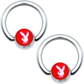 Playboy Licensed Red White Captive Ring Set