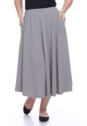 White Mark Plus Size Flare Midi Skirts