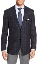 JB Britches Classic Fit Windowpane Wool Sport Coat