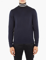 Paul Smith Navy Merino Roll-Neck Sweater