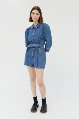BDG Sienna Denim Playsuit - Blue XS at Urban Outfitters