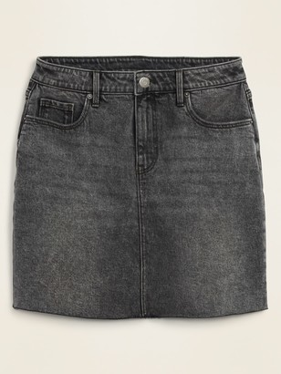 Old Navy High-Waisted Raw-Hem Faded-Black Jean Skirt for Women