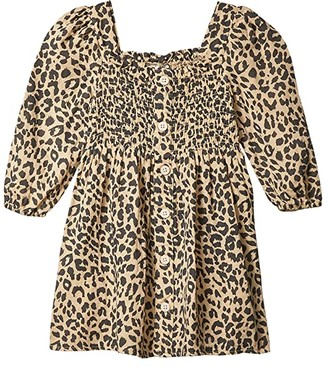 Cotton On Lindsay Long Sleeve Dress (Little Kids) (Semolina/Leopard) Girl's Dress