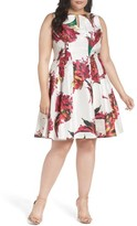 Gabby Skye Plus Size Women's Keyhole Detail Floral Shantung Fit & Flare Dress