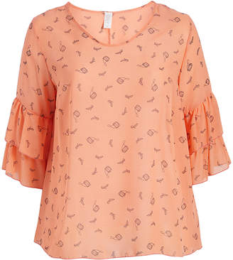 Seven Karat Women's Blouses coral - Coral Bag & Heels Ruffle Sleeve Top - Plus