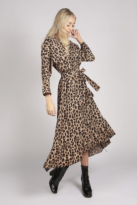Tenki LONG SLEEVE LEOPARD PRINT RUFFLE WRAP MAXI DRESS IN BROWN