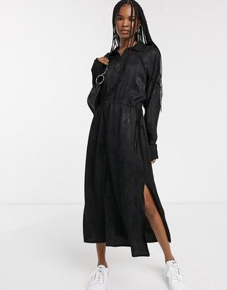 Weekday snake jacquard shirt dress in black