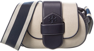 Tory Burch Kira Canvas & Leather Shoulder Bag