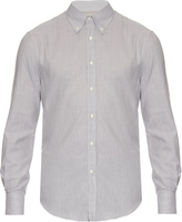 Brunello Cucinelli Long-sleeved cotton herringbone shirt