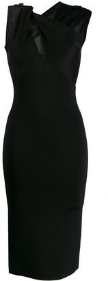 Victoria Beckham Twist-Neck Fitted Dress