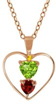 Gem Stone King 0.84 Ct Heart Shape Green Peridot Red Garnet Gold Plated Sterling Silver Pendant With 18 Inch Chain