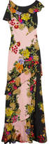 Etro Ruffled Floral-print Crepe And Silk-chiffon Maxi Dress - Pink