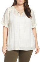 Lucky Brand Plus Size Women's Lace-Up Top
