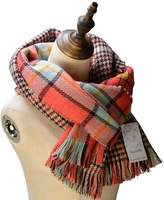Neal LINK Women's Cozy Tartan Scarf Wrap Shawl Neck Stole Warm Plaid Checked Pashmina