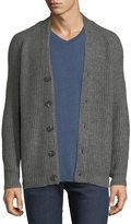 Velvet Chunky-Knit Button-Front Cardigan