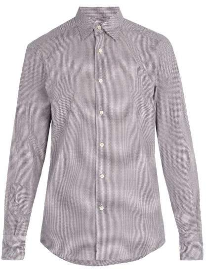 Ermenegildo Zegna Micro Gingham Checked Cotton Shirt - Mens - Purple Multi