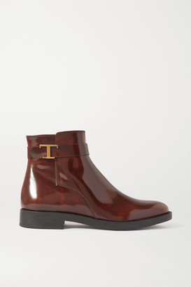 Tod's Logo-embellished Patent-leather Ankle Boots - Brown