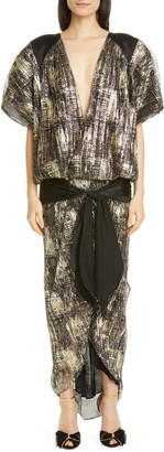 Rodarte Metallic Plisse Pleat Drop Waist Maxi Dress