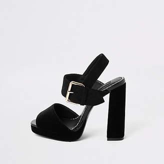 River Island Black velvet wide fit platform heel sandals
