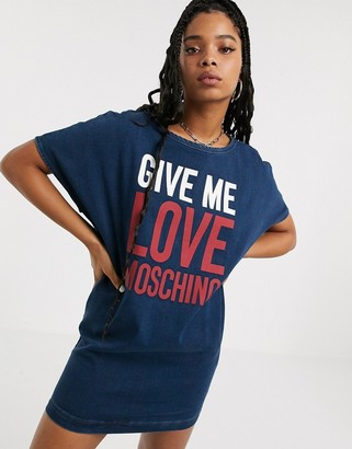 Love Moschino give me slogan t-shirt dress-Navy