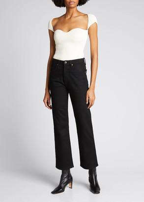 KHAITE The Vivian Cropped Boot-Cut Jeans