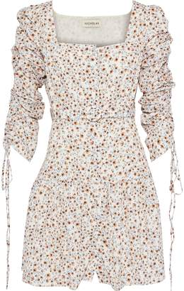 Nicholas Belted Ruched Floral-print Crepe De Chine Mini Dress