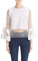 ADAM by Adam Lippes Women's Lace Trim Bell Sleeve Blouse