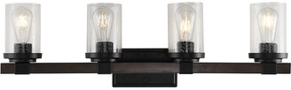 Jonathan Y Designs Bungalow 32In 4-Light Iron/Seeded Glass Rustic Farmhouse Led Vanity Light