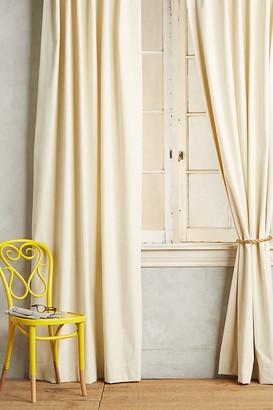 "Anthropologie Matte Velvet Curtain By in White Size 50"" X 96"""