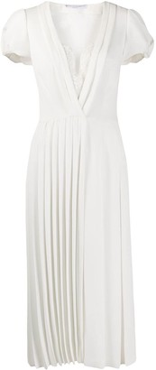 Ermanno Scervino Short-Sleeve Pleated Midi Dress